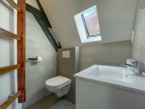 Private bathroom with a daylight window, a toilet and a sink