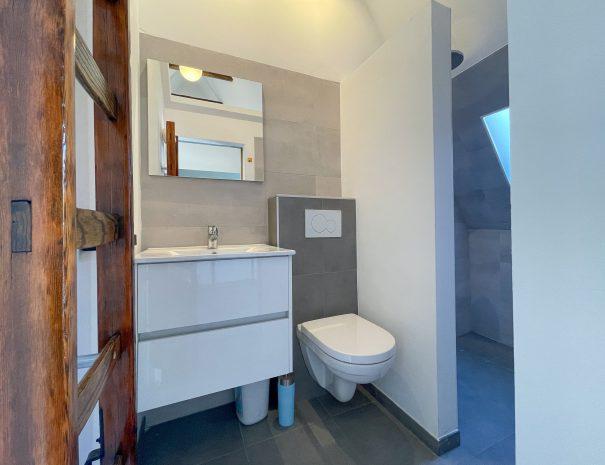 Eigen badkamer met toilet, wastafel, spiegel en douche