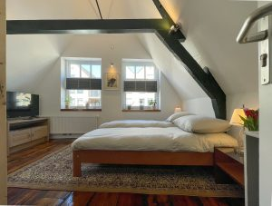 Light room with exposed beams, a wooden floor, TV, large carpet and large bed. The sun enters from two big windows.
