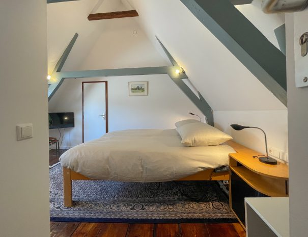 Light room with exposed beams, wooden floor a large carpet and large bed. A TV and the door to the bathroom are visible in the background.